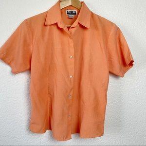 Uniti Retro Style Orange Gingham Button Up Blouse
